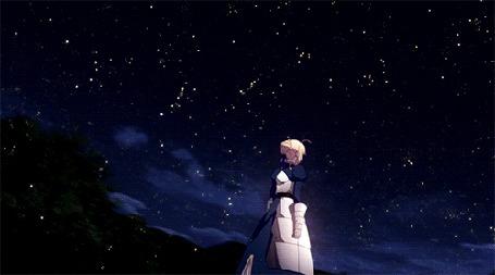 Анимация Fate / Судьба | Saber (Сейбер) | Девушка в доспехах | Ночь