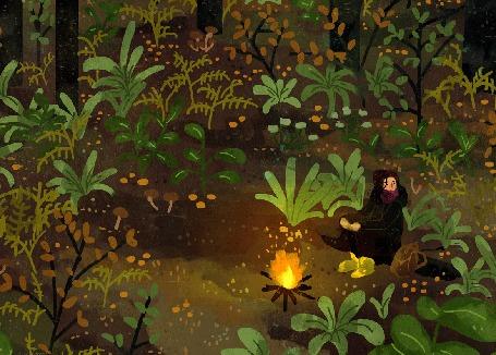 Анимация Девушка сидит перед костром в лесу, by Manadhiel