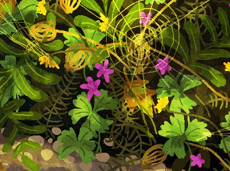Анимация Падающие листья и порхающая бабочка и пробегающая мышка, by Manadhiel