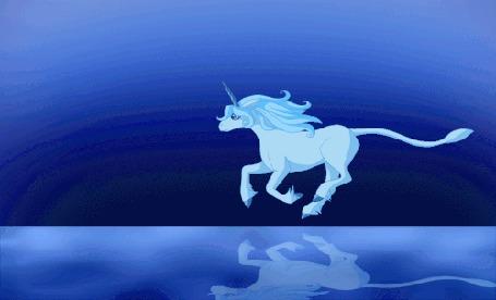 Анимация Бегущий по воде белый единорог, кадр из мультфильма The last unicorn / Последний единорог