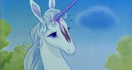 Анимация Тень бабочки отражается на единороге, кадр из мультфильма The last unicorn / Последний единорог