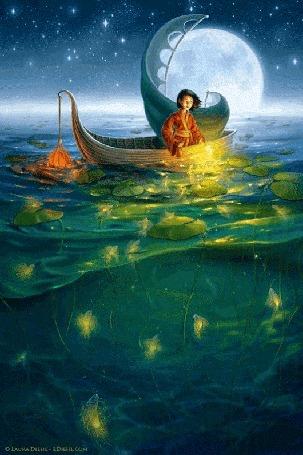 Анимация Мальчик в лодке ловит руками в море светящихся рыб, by Laura Diehl