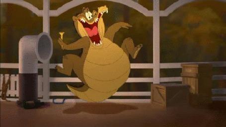 Анимация Толстый аллигатор Луи выплясывает на борту корабля, мультфильм Принцесса и лягушка
