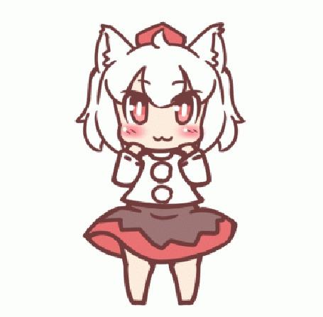 Анимация Танцующая и подмигивающая Момиджи Инубашири / Momiji Inubashiri из игры Тохо / Touhou Project / Проект Восток