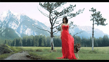 Анимация Девушка в красном платье и волк рядом с ней
