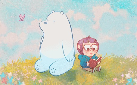 Анимация Медведь, на нос которого садится бабочка и мальчик с книгой сидят на лужайке