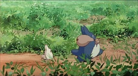 Анимация Тю Тоторо и Тиби Тоторо убегают от Мэй Кусакабэ / Mei Kusakabe, мультфильм Мой сосед Тоторо / My neighbor totoro