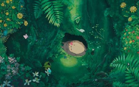 Анимация Бабочки летают над гнездом, где спит Тоторо / Totoro, мультфильм Мой сосед Тоторо / My neighbor totoro