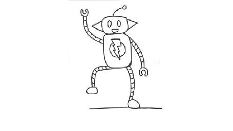 Анимация Нарисованный робот весело танцует