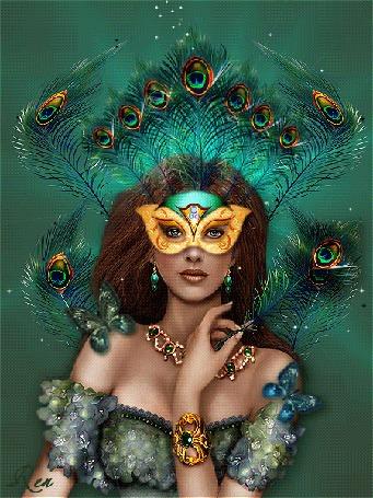 Анимация Девушка с перьями павлина на голове и в руке, с бабочками на плечах, с маской на лице, с ожерельем на шее и браслетом на руке