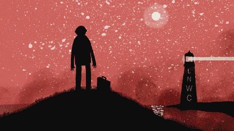 Анимация Тень стоит на холме, но растворяется, превращаясь в стаю летучих мышей, как только до нее доходит свет маяка (Soon, LNWC)