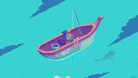 Анимация Мальчик-рыбак в лодке на воде, где плавают рыбы и над ним пролетает птица, by kirokaze