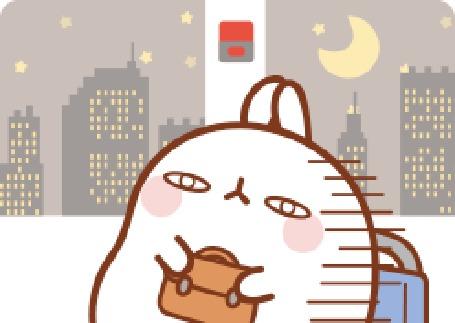 Анимация Molang rabbit / Кролик Моланг уставший едет в транспорте ночью