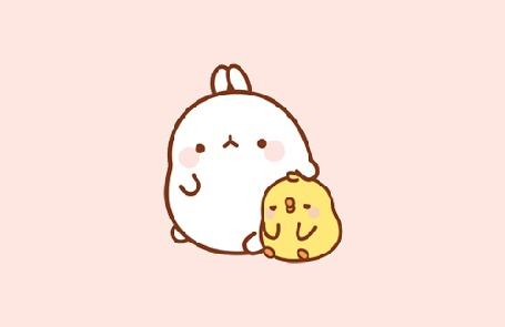 Анимация Molang rabbit / Кролик Моланг гладит цыпленка