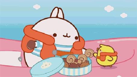 Анимация Molang rabbit / Кролик Моланг и цыпленок на лодке кушают печенье