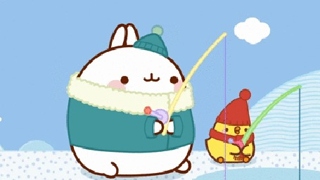 Анимация Molang rabbit / Кролик Моланг и цыпленок зимой ловят рыбу