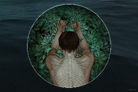 Анимация Парень на зеленой траве в кругу на фоне воды, by adelruna