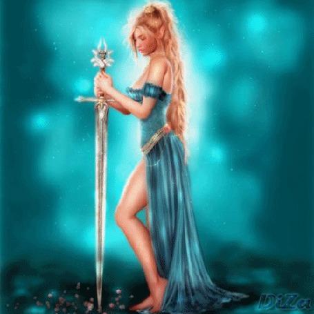 Анимация Девушка в голубом платье с мечом в руке