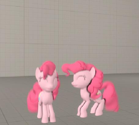Анимация Две прыгающие 3D-модельки Pinkie Pie / Пинки Пай из мультсериала Мои маленькие пони: Дружба – это Чудо / My Little Pony: Friendship is Magic / MLP:FiM