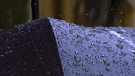 Анимация На зонт падают капли дождя