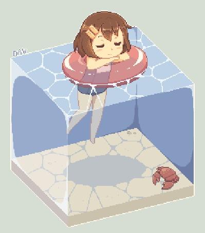 Анимация Юи Хирасава / Yui Hirasawa из аниме Легкая музыка / Клуб легкой музыки / Кей-Он! / K-On! в надувном круге плавает на поверхности куба с водой, на дне которого сидит краб, Pixel Art by DAV-19