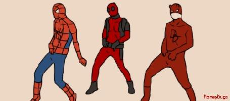 Анимация Танец Spider-Man, Deadpool & Daredevil / Человека-паука, Дедпула и Сорвиголовы (Honeybugs)