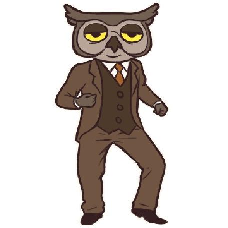 Анимация Сова в строгом костюме крутит бедрами