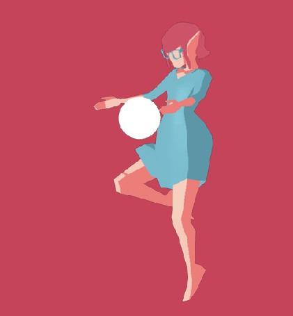 Анимация Девушка вместе с воздушным шариком поднимается вверх