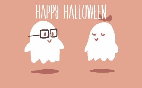 Анимация Привидение целует другое привидение и поздравляет (Happy Halloween)