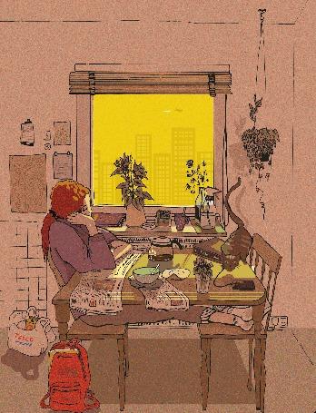 Анимация Девушка сидит на кухне и смотрит в окно на пролетающий самолет, на столе мигает мобильный телефон, by Serina Kitazono