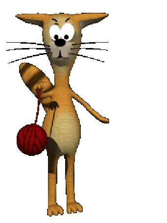 Анимация Кот покручивает клубок ниток