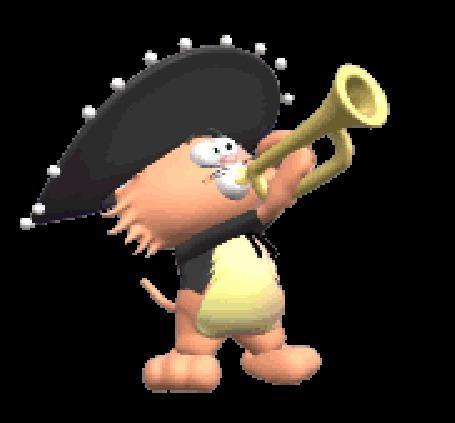 Анимация Кот в сомбреро играет на трубе