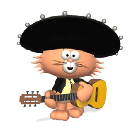 Анимация Кот играет на гитаре
