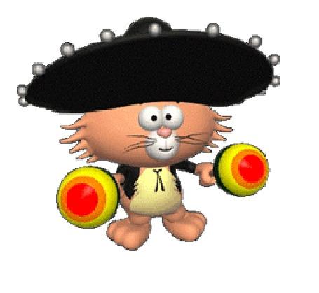 Анимация Кот играет на маракасах