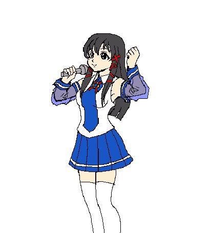 Анимация Танцующая девушка с микрофоном в правой руке на белом фоне