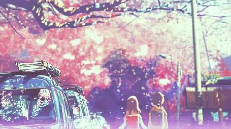 Анимация Девочка с мальчиком идут по улице, аниме 5 centimeters per second / 5 сантиметров в секунду
