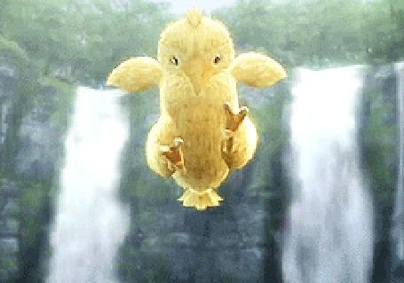 Анимация Порхающий цыпленок на фоне водопадов
