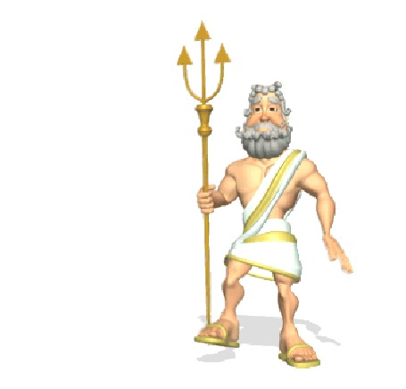 Анимация Бог Посейдон грозит кому - то своим трезубцем