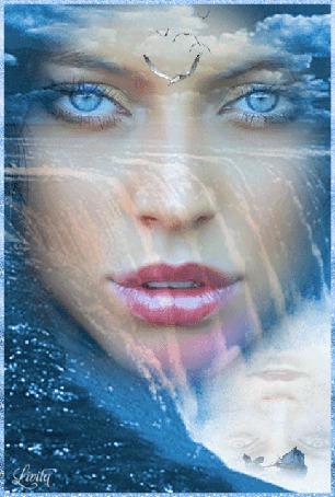 Анимация Лицо красивой голубоглазой девушки на фоне водопада, неба с белыми облаками и летящих птиц, by Livita