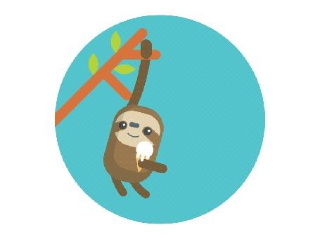 Анимация Ленивец ест мороженое, раскачиваясь на ветке