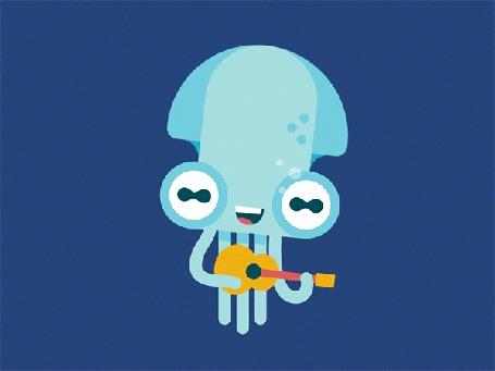 Анимация Голубой кальмар играет на гитаре под водой
