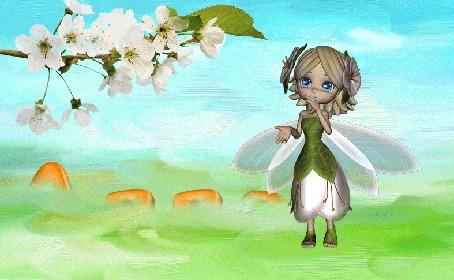 Анимация Маленькая фея на фоне неба (Алла)