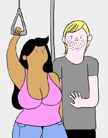 Анимация Парень тянет руку к груди девушки в общественном транспорте, но та дает отпор