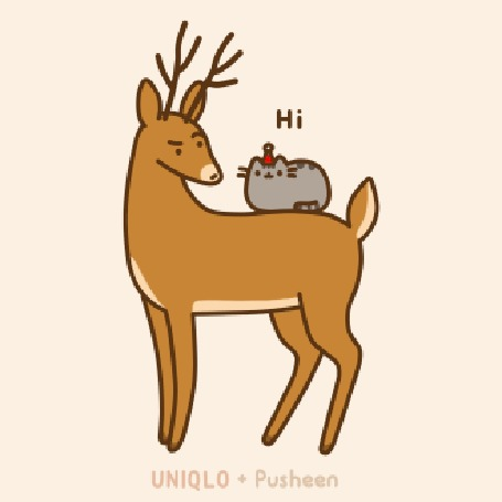Анимация Кот Пушин сидит на олене (UNIQLO+Pushin)