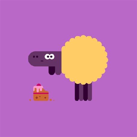 Анимация Овечка жует кусочек торта
