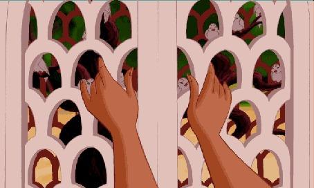 Анимация Принцесса Жасмин открывает дверцу и оттуда вылетают птицы