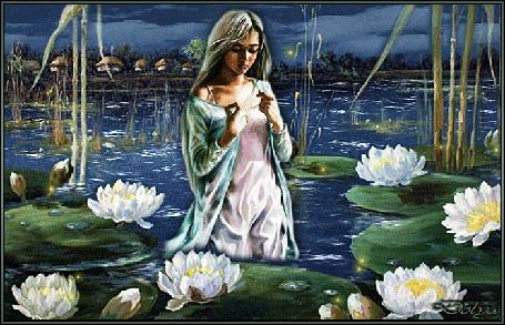Анимация Девушка стоит по пояс в реке на праздник Ивана Купала, вокруг плавают лилии