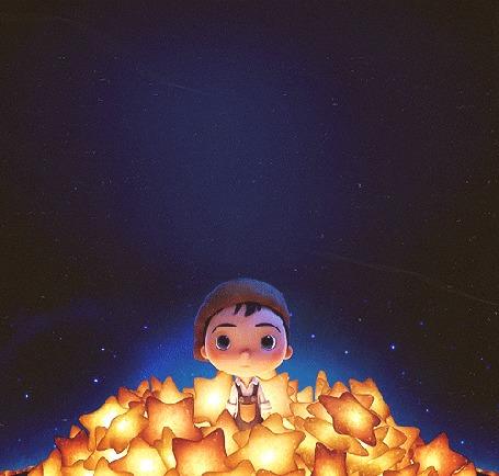 Анимация Мальчик сидит в звездах, мультфильм La Luna / Луна