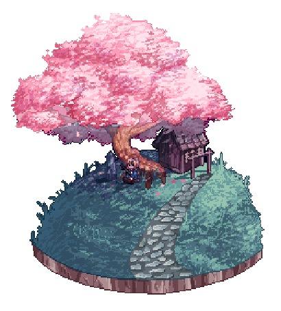 Анимация С цветущего дерева слетают лепестки (© zmeiy), добавлено: 29.06.2016 13:09