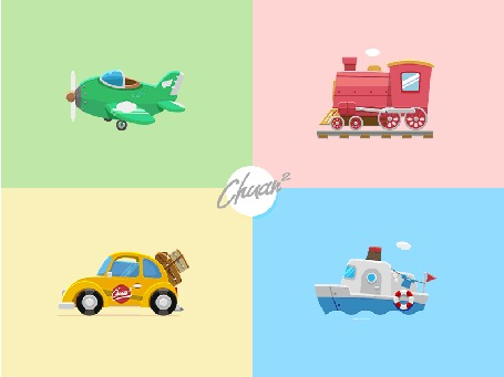 Анимация Самолет, летящий в облаках, красный паровоз, желтая машина с багажом и небольшой кораблик, плывущий по волнам, Chuan 2